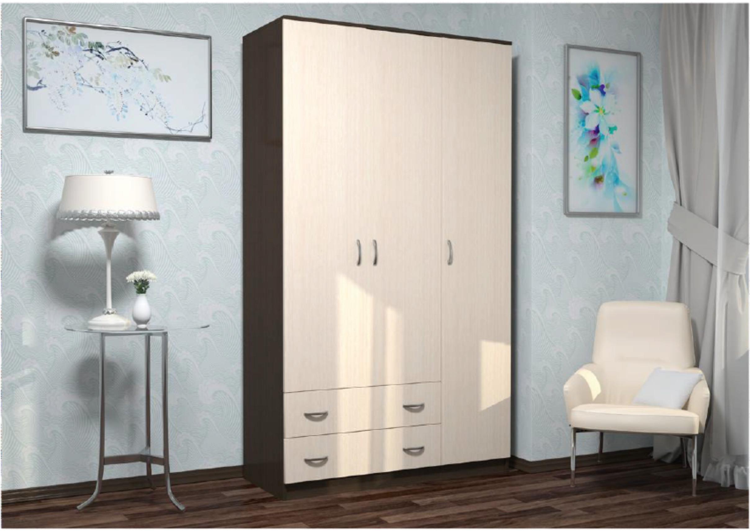 Шкаф Комфорт 10 ЛДСП (венге/дуб молочный) АД-47 дешево в Новосибирске — интернет-магазин мебели